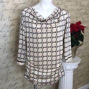 New York & Co Geo Pattern Top Cowl Neck, Size XL